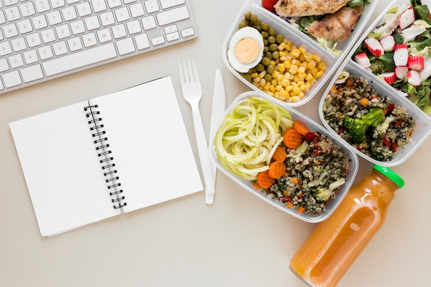 Top view assortment food with keyboard