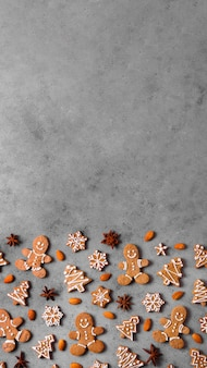 Top view of assortment of gingerbread cookies with copy space