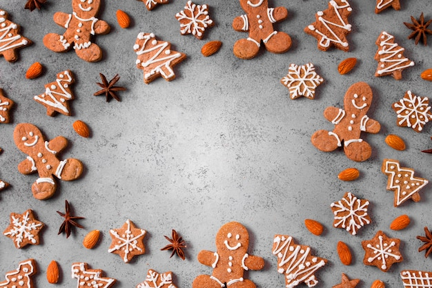 Top view of assortment of gingerbread cookies