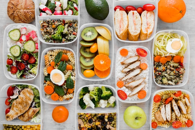 Top view assortment healthy meal