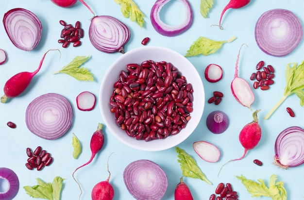 Top view assortment of kidney beans and vegetables