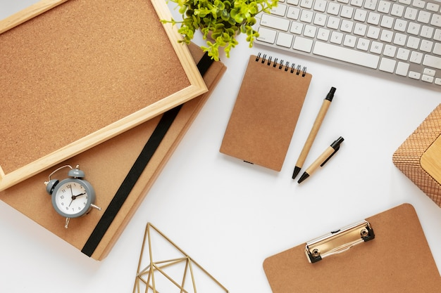 Top view assortment of natural material stationery