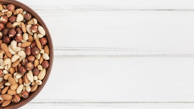 Top view of assortment of nuts with hazelnuts