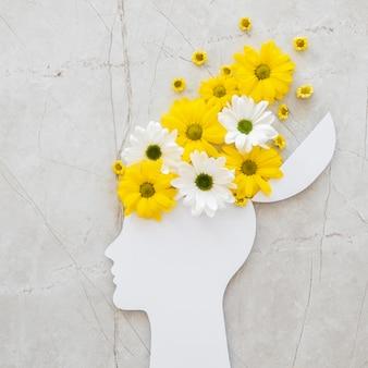 꽃과 낙관주의 개념의 상위 뷰 구색