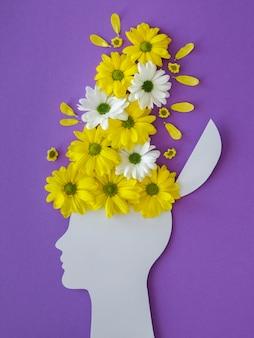 Вид сверху ассортимент концепции оптимизма с цветами