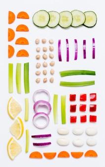 Вид сверху ассортимент органических овощей Бесплатные Фотографии
