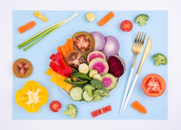有機野菜のトップビューの品揃え