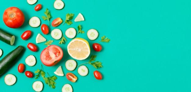 Вид сверху ассортимент овощей с копией пространства Бесплатные Фотографии