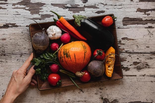 Ассортимент овощей в лотке, вид сверху