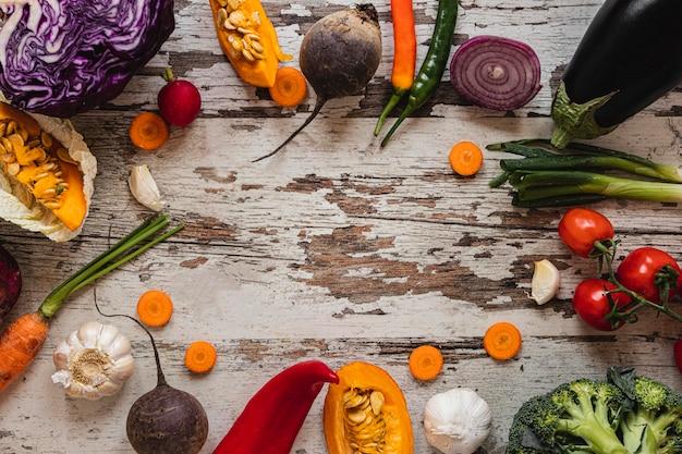 Ассортимент овощей, вид сверху