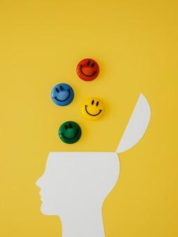 Top view assortment of optimism concept elements