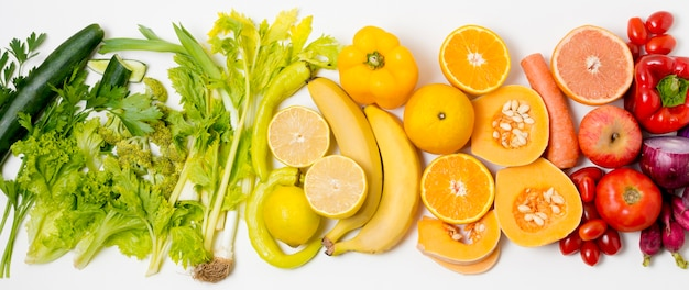 Top view assortment of organic fruits and vegetables