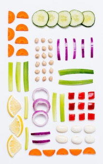Top view assortment of organic vegetables