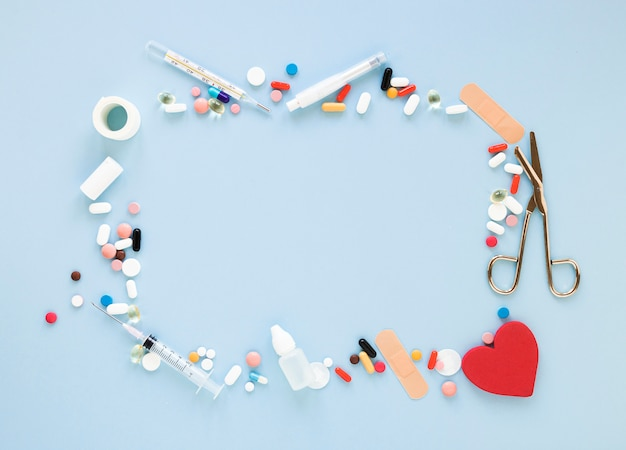 Top view assortment of painkillers and medicine
