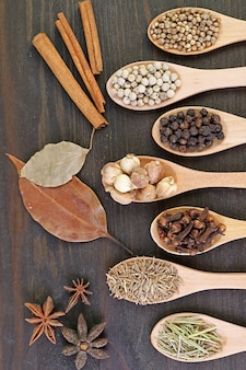 Top view of assortment of spices in wooden spoons and wooden table