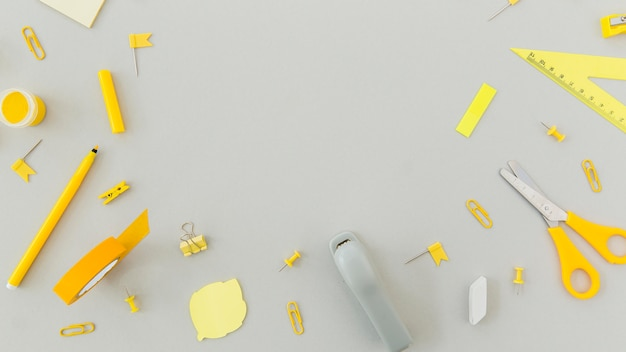 Top view assortment of stationery supplies