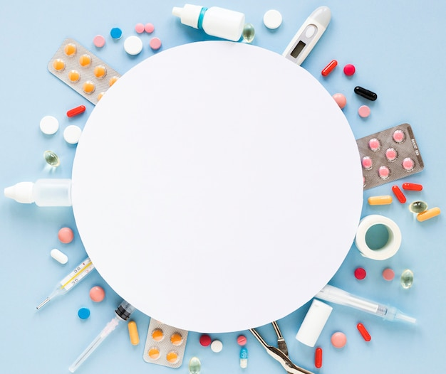 Top view assortment of tablets and pills