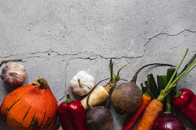 Top view assortment of veggies concrete copy space background