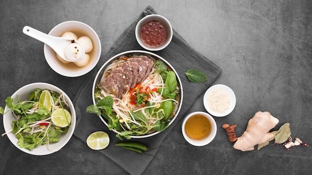 Top view of assortment of vietnamese food