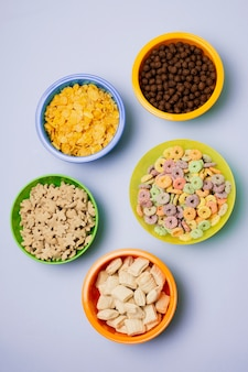Top view assortment with different types of cereals