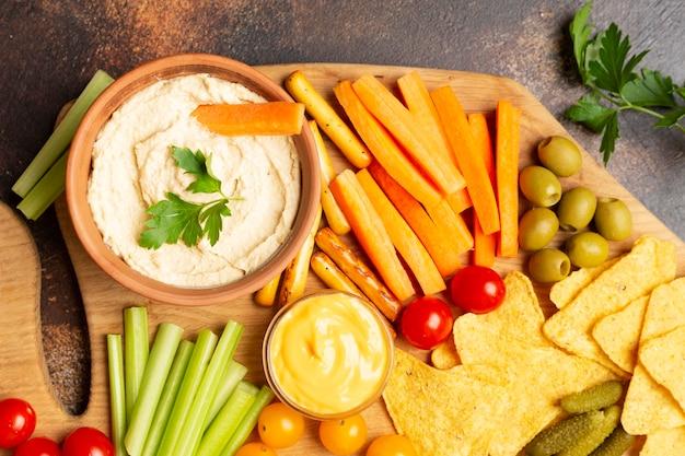 Вид сверху ассортимент с овощами