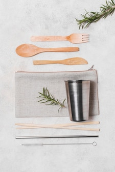 Top view assortment of zero waste products