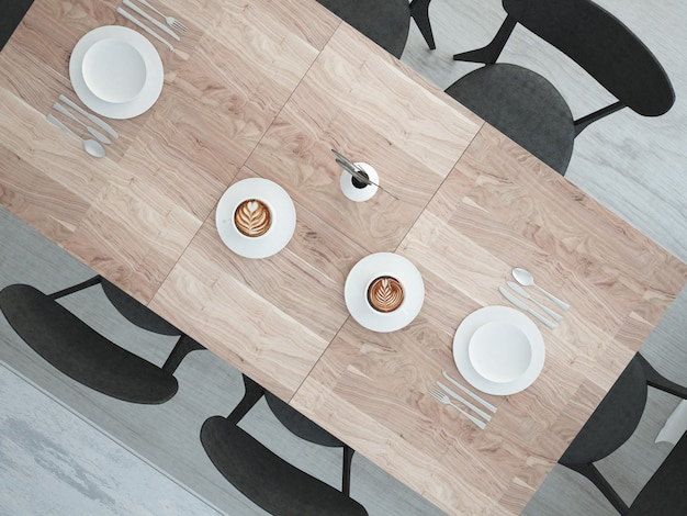 큰 저녁 식사 테이블에서 상위 뷰