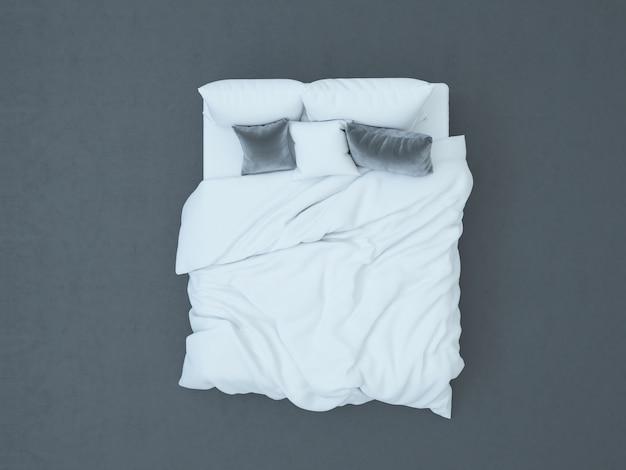 Вид сверху на белую кровать с бархатными подушками