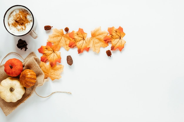Top view autumn arrangement on white background