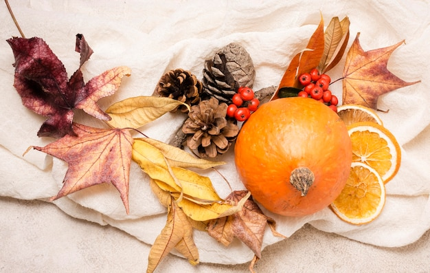 Top view of autumn arrangement with citrus and leaves