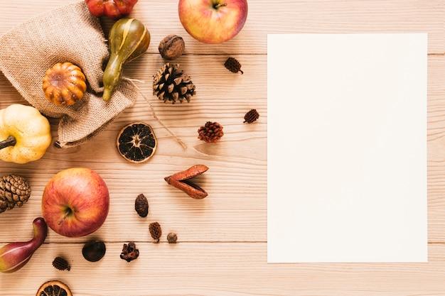 Top view autumn arrangement with copy space