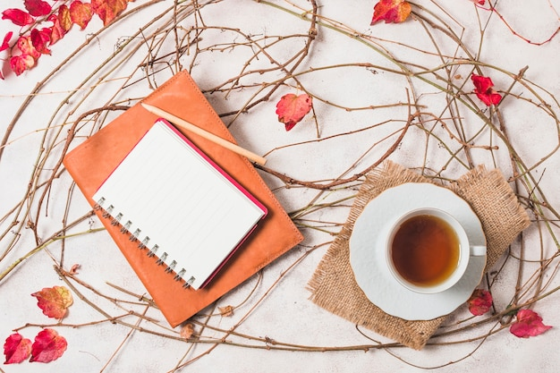 Top view autumn assortment with coffee and notebook