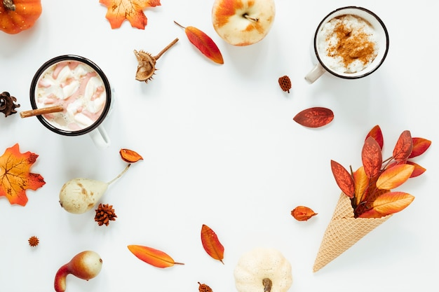 Top view autumn beverage with white background