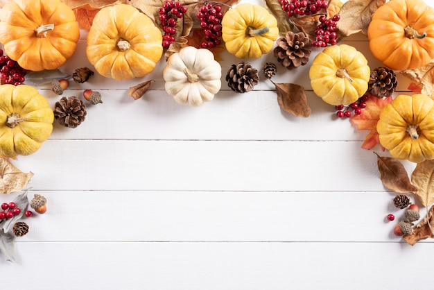 Top view of autumn decoration on wooden. thanksgiving day concept.