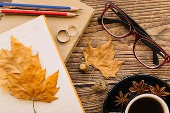 Top view autumn desk