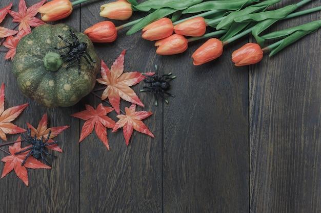 トップビュー秋の要素、暗い背景