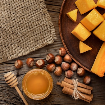 Top view autumn food and burlap fabric