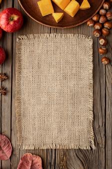 Top view autumn food copy space burlap fabric