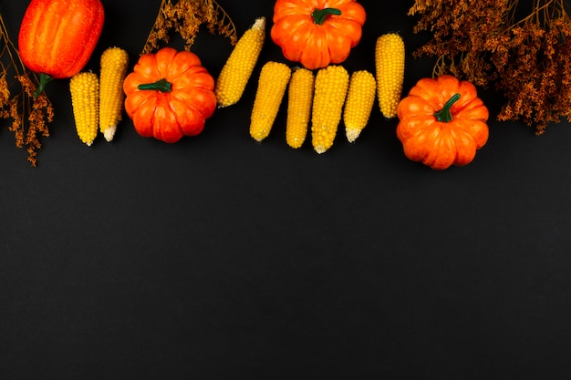 Top view autumn food with black background