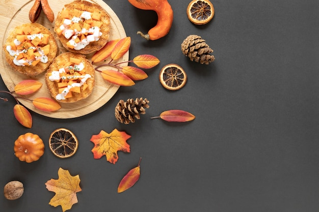 Top view autumn food with copy space