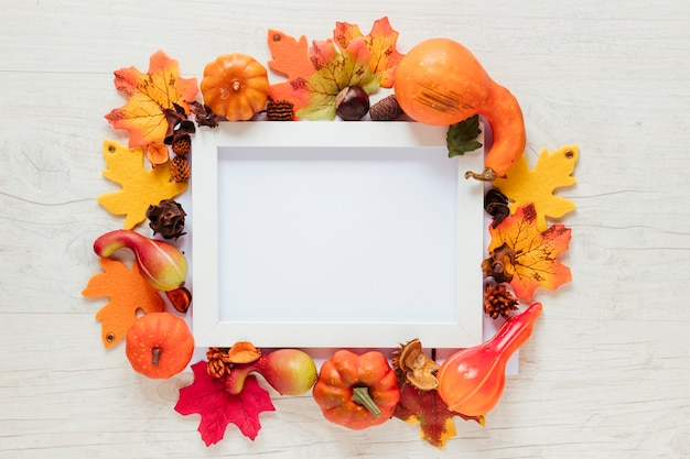 Top view autumn food with a frame