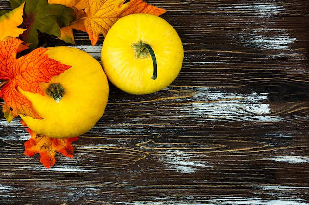 Top view autumn food with wooden background