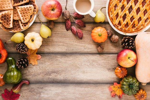 Top view autumn food on wooden table