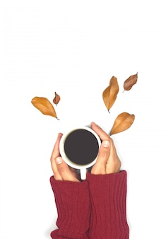 Top view of autumn leaves and coffee