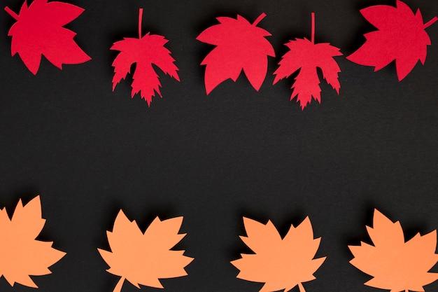 Vista dall'alto composizione di foglie d'autunno