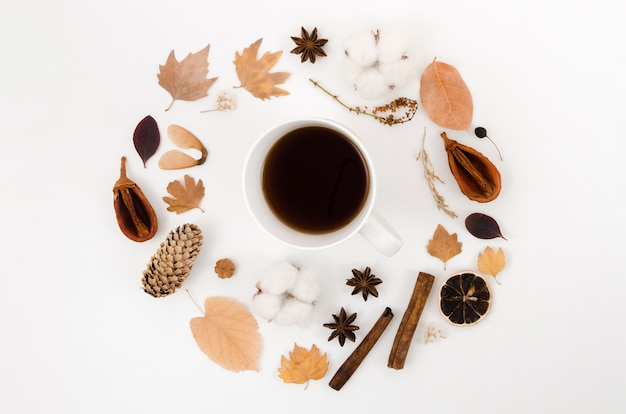 Top view autumn leaves frame with coffee
