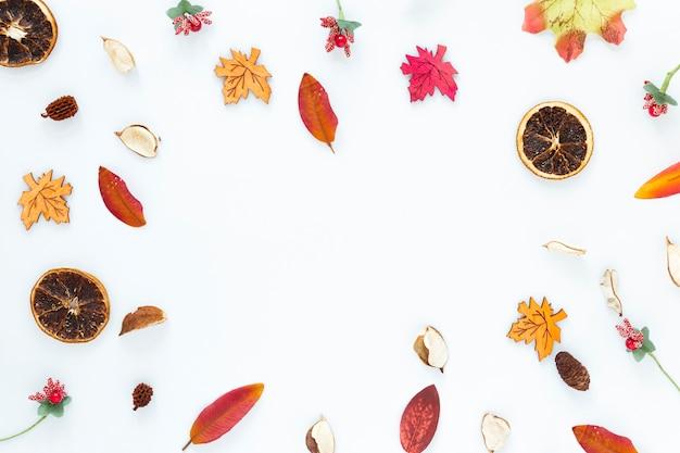 Вид сверху осенние листья на белом фоне