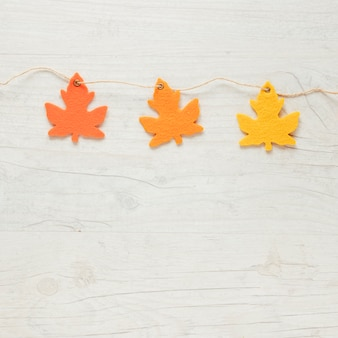 Top view autumn leaves ornaments on string