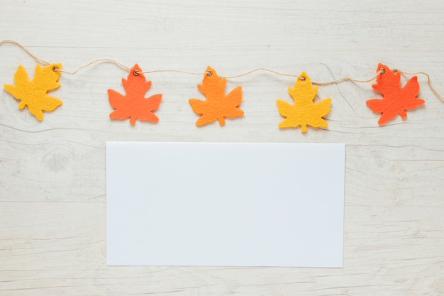 Top view autumn leaves ornaments with copy space
