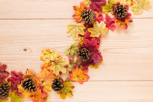 Top view autumn leaves with copy space
